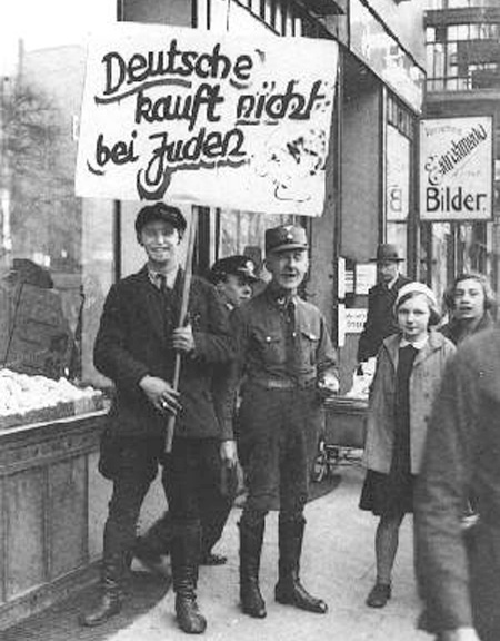 Boycott pickets outside No. 79 Grindelallee, 1st April 1933.