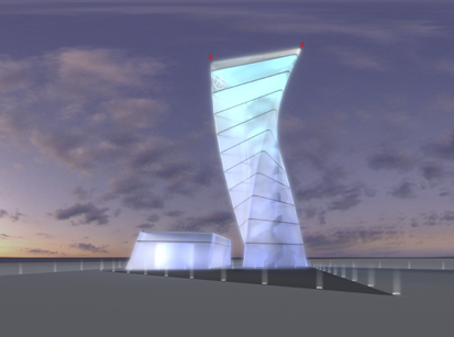 The special thing about the BBI Infotower is its unusual and rather striking design.