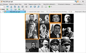 An image from the Web site of the Georgian Parliament after it had been defaced showing Georgian President Mikheil Saakashvili together with leaders of the Nazi regime
