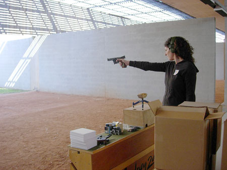 I went into training at a shooting center in Sydney, Australia to learn how to use a gun.