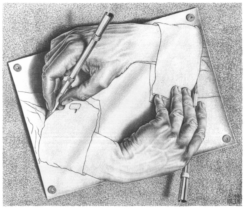 Drawing hands, Echer